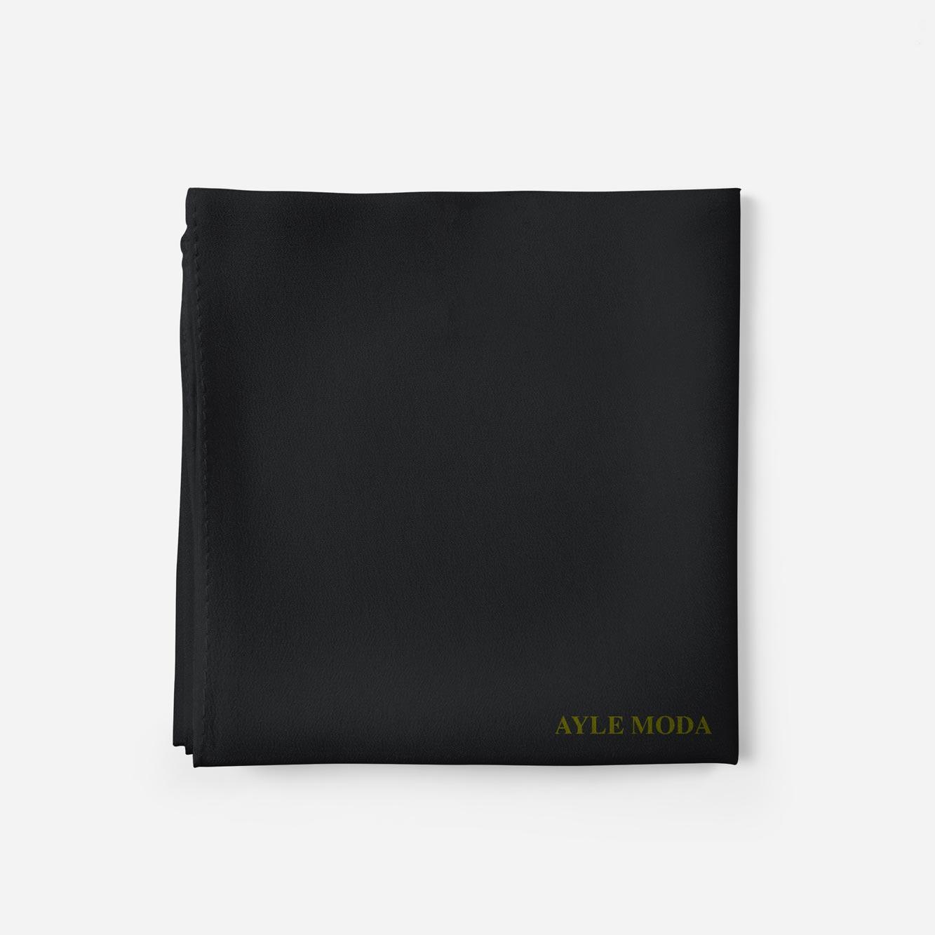 Siyah - Şifon Şal - Sedef - 72x200