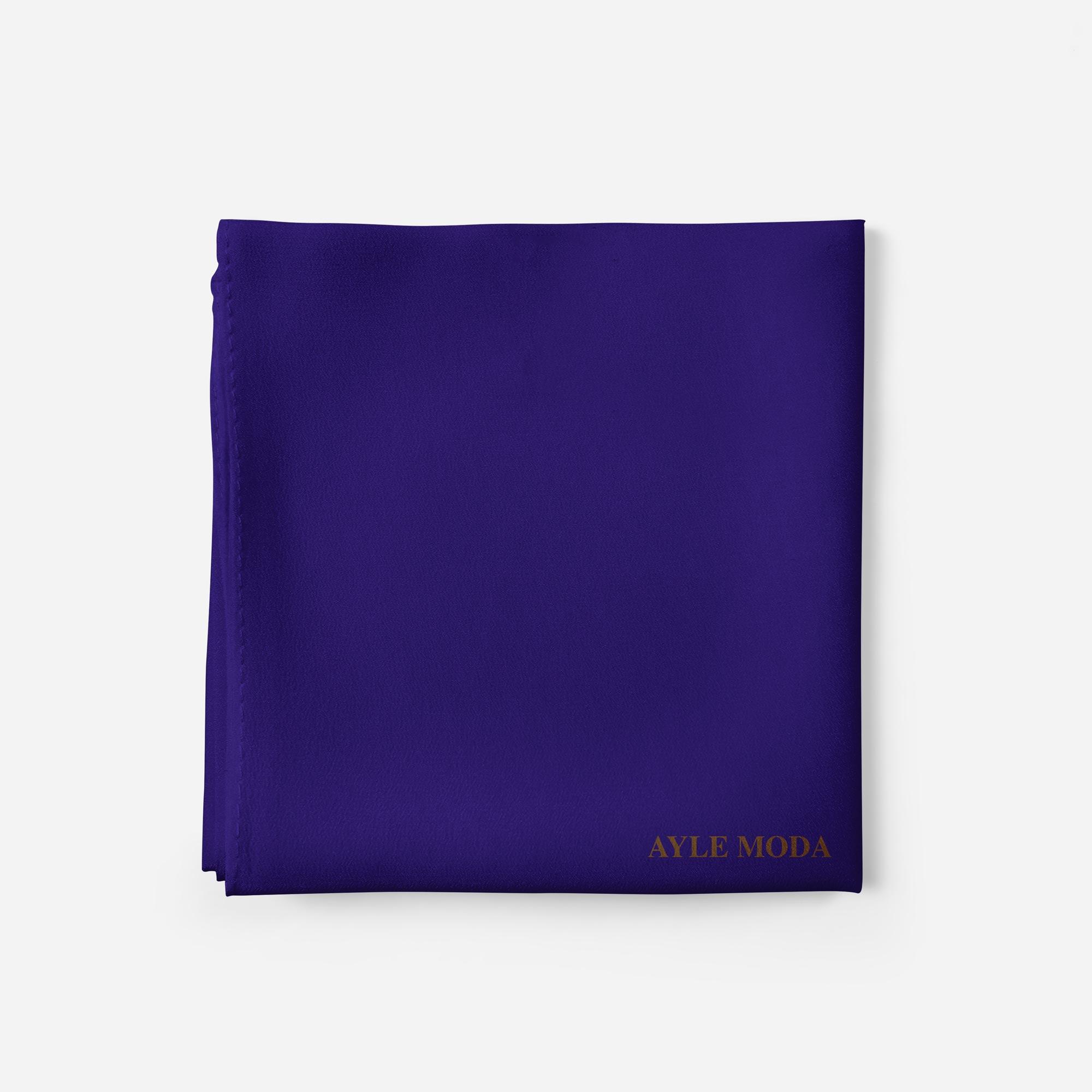 Koyu Mavi - Şifon Şal - Sedef - 72x200