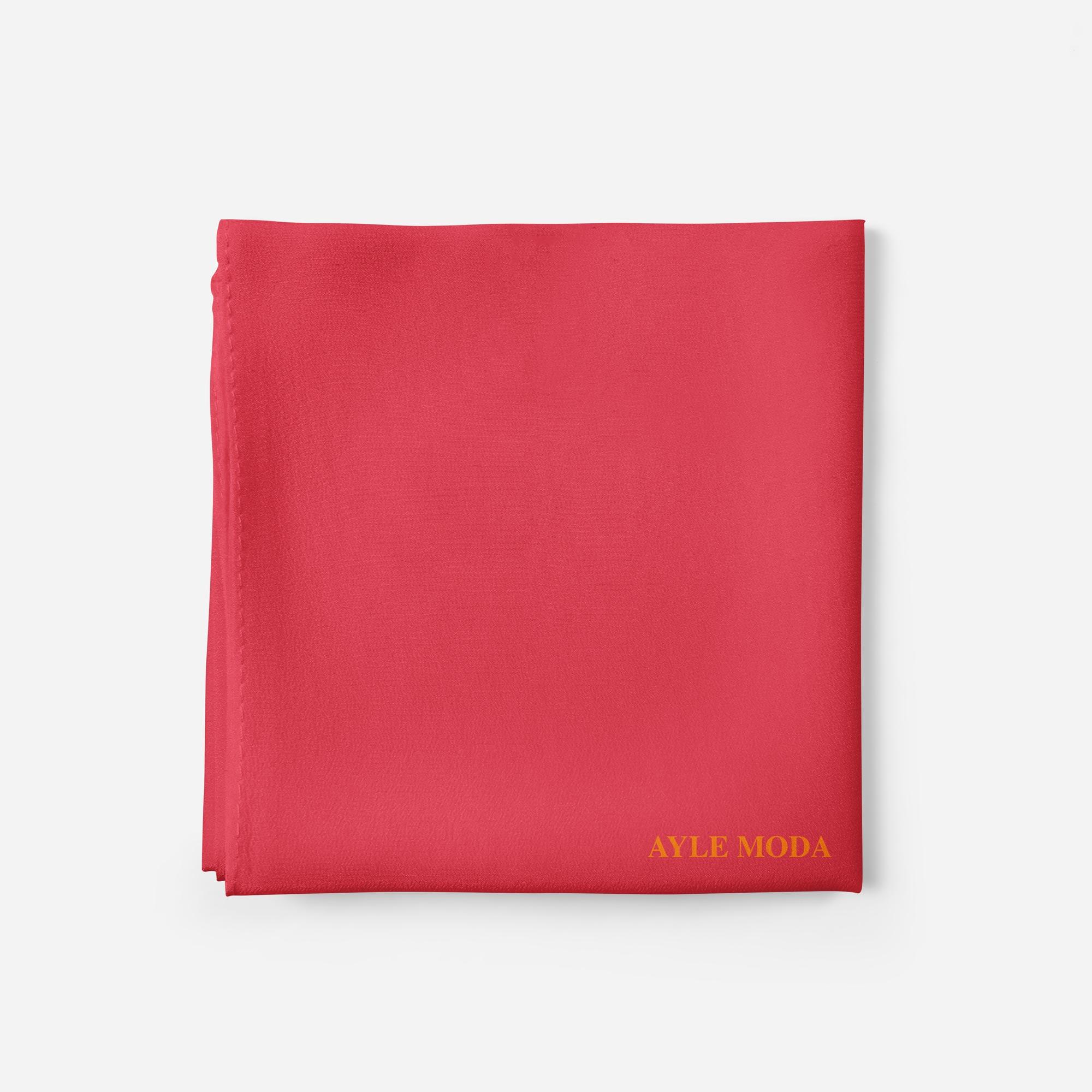 Açık Kırmızı - Şifon Şal - Sedef - 72x200
