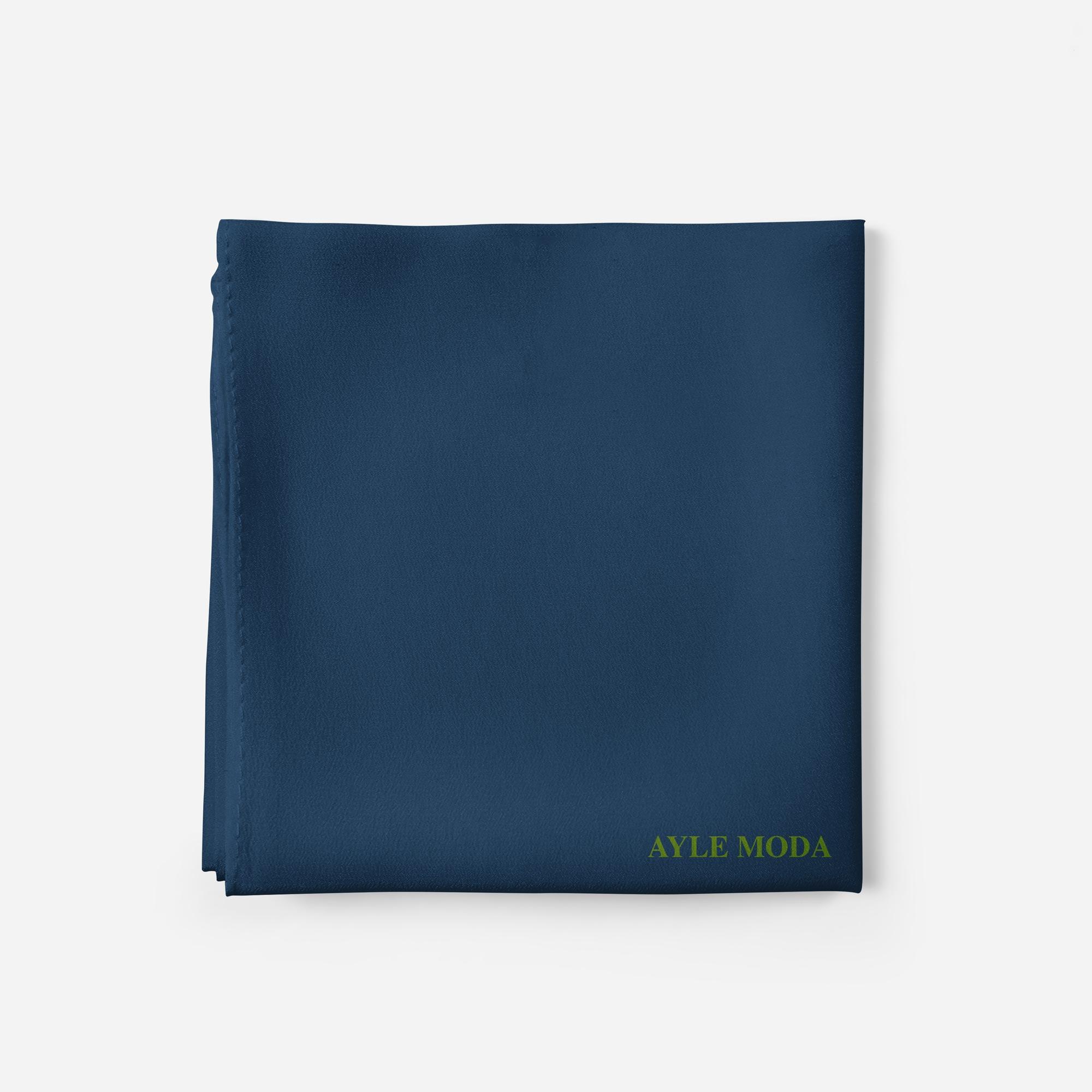 Gece Mavisi - Şifon Şal - Sedef - 72x200